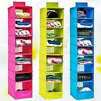 (Rose) - PME Hanging Organiser, Canvas 9 Shelf Shoe Organiser Storage Organiser (Rose)