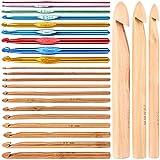 SNOWINSPRING かぎ針フックのキット、3Mm-25Mm 15個の盛り合わせサイズの木製竹かぎ針編みフックと9個のマルチカラーのアルミ製2MM-10MMハンドルのかぎ針編みフック、手作り編み物用針