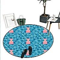 海の動物 室内装飾 円形 エリアラグ ボトルノーズ イルカ 海の魚 日光 海 自然 水中 ドアマット 屋内 バスルーム マット スモール ラウンド カーペット ブルー グレー D2'/0.6m