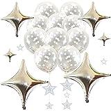 frontier シルバー スター キラキラデコレーションセット コンフェッティバルーン 銀色 星 風船 誕生日 結婚式 二次会 豪華 おしゃれ (②キラキラスターバルーンデコレーションセット(シルバー))