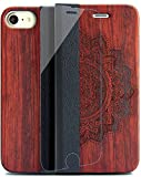 iPhone7ケース iPhone8ケース 手帳型 ローズウッド木 カード収納 スタンド機能 ハードケース スマホケース YFWOOD 高級 財布 二つ折れ アイフォン7 画面保護カバー アイフォン7保護シート 赤ひまわり