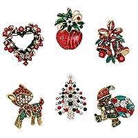 JUNKE ダイヤモンドボーダー クリスマス ジングルベル/ツリー/サンタ/鹿/リース/帽子/ブーツ/アップルブローチ クリスタルラインストーンピンバッジ ブローチ クリスマスギフト クリスマスオーナメント