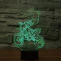 3dクロスカントリーオートバイナイトライトテーブルデスクOptical Illusionランプ7色変更ライトLEDテーブルランプXmasホームLove Brithday子供キッズ装飾おもちゃギフト