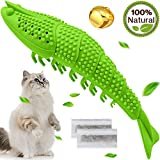 Wisedom Cat Toothbrush Catnip Toy Dental Care Refillable Catnip Interactive Playing Feeding Toy with Bell for Kitten Kitty Cats Teeth Cleaning