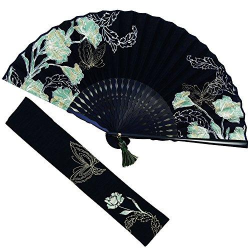扇子 女性 扇子袋・ハンカチセット ブーケ(ネイビー) 桐箱入り おしゃれ コットン 女性用 レディース 扇子