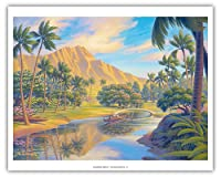 "Pacifica Island Art Lazy Days - Kapiolani Park - Oahu, Hawaii - ビンテージスタイル ハワイアン トラベルポスター ケルン・エリクソン作 - ファインアートプリント 16"" x 20"" APCKE3"