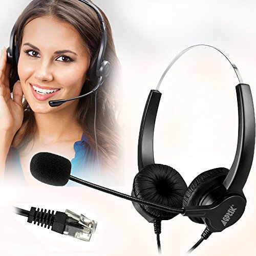 AGPtek? 4ピンRJ9 ハンドフリー*コールセンター用ヘッドセット ノイズキャンセルマイク付き両耳ヘッドフォン 電話機対応 業務用ヘッドセット