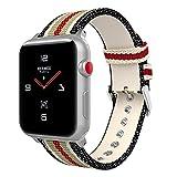 Apple Watch バンド - ATiC Apple Watch 38mm Series 1/2/3用 縦縞 キャンバス製腕時計ストラップ/バンド 交換ベルト+バンドアダプター/交換ラグBlack+White+Brown+Red (42mmに対応ない)