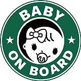 Exproud製 BABY ON BORAD 赤ちゃんが乗っています マグネット ステッカー 直径15cm 女の子用 あおり運転対策