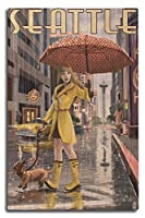 シアトル、ワシントン – Rainy Day Girl 10 x 15 Wood Sign LANT-34124-10x15W