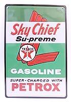 【アメリカ雑貨】ブリキ看板 TEXACO Sky chief レトロ看板 30cm×20cm アルミデザインボード プレート [並行輸入品]