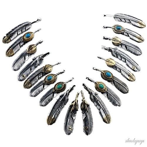 """[해외]""""silverKYASYA""""925 소재 실버 특대 깃털 날개 펜던트 925 골드 손톱 上金 하트 청록색 깃털 목걸이 실버 최강 9 가지!/""""Silver KYASYA"""" silver 925 material silver oversized feather feather feather pendant 925 gold claw t..."""