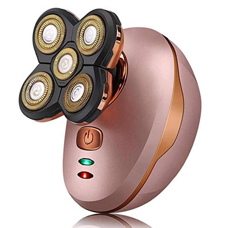 スタッフアンタゴニスト人4D浮動USB 5カミソリヘッドとバリカン電気かみそり男性ボールドヘッドシェーバーロータリーコードレスバリカン防水髭トリマー男性