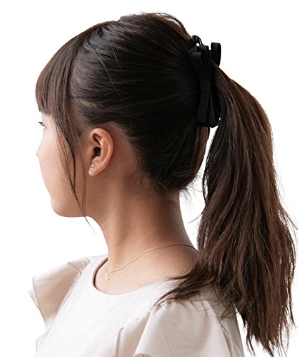 本物債務布ボナバンチュール(Bonaventure) ミルフィーユ リボン バナナクリップ グログラン 小さめ レディース ヘアアクセサリー 人気 ブランド ヘアクリップ 髪留め ブラック