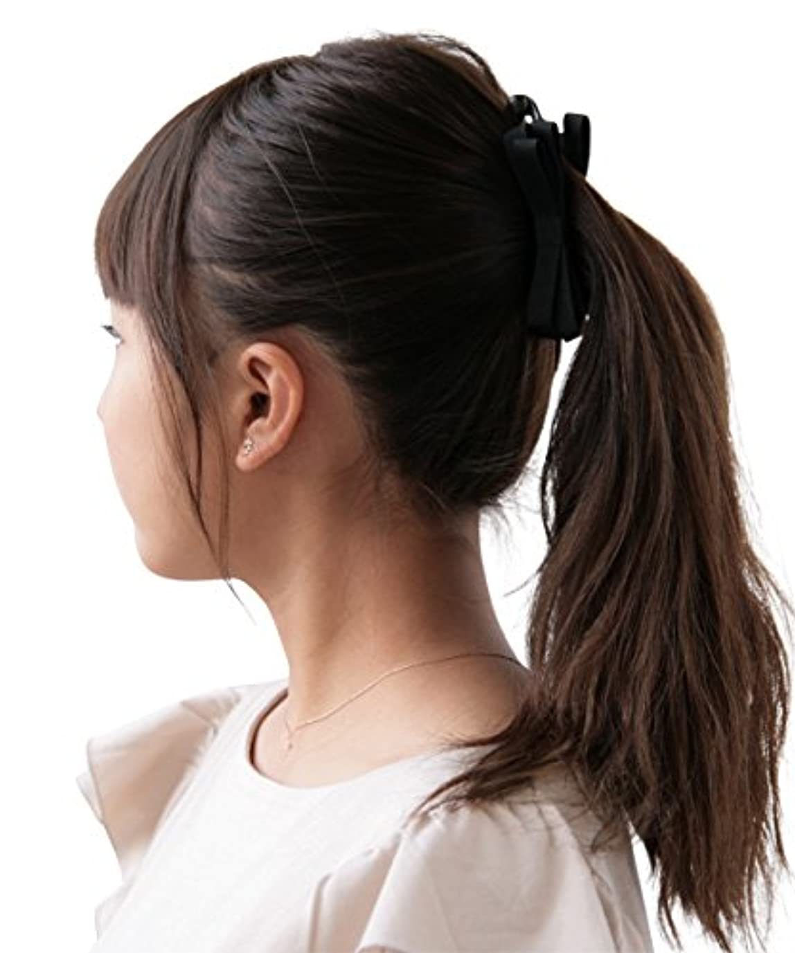ボナバンチュール(Bonaventure) ミルフィーユ リボン バナナクリップ グログラン 小さめ レディース ヘアアクセサリー 人気 ブランド ヘアクリップ 髪留め ブラック