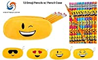 Emoji Face Pencil Case (Assorted) & 12 Emoji Face Pencils! Student Gift Set by M & M Products Online [並行輸入品]