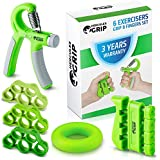 Hand Grip Strengthener Forearm Grip Workout Kit - 4 Pack - Adjustable Hand Gripper Resistance Range of 22-88lbs Finger Exerciser Finger Stretcher & Exercise Ring + HD Video Manual -3 Years Warranty