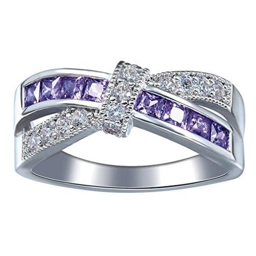 (ビグッド)Bigood リング レディースシンプル 指輪 キュービックジルコニア アクセサリー 婚約 925シルバー ステンレス アメジスト 9号