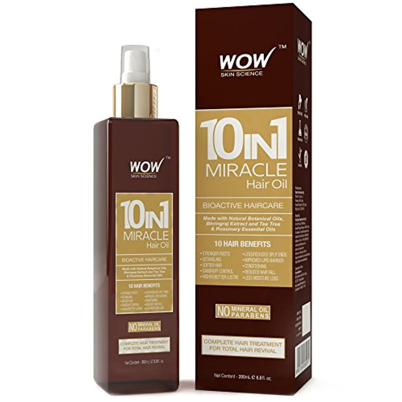 無心子犬追い付くWOW 10-in-1 Active Miracle Hair Oil - No Parabens and Mineral Oils - 200 ml