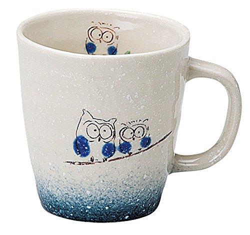 宗峰窯 マグカップ 吹ふくろう 青 φ8.3×8.8cm(280cc) 757-11-463