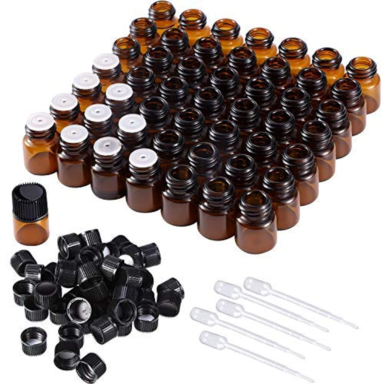 冷蔵する霧谷50 Pieces 1 ml Mini Amber Glass Vial Bottles Essential Oil Bottles with Orifice Reducers Screw Caps and 5 Pieces Droppers for Essential Oils Storage [並行輸入品]
