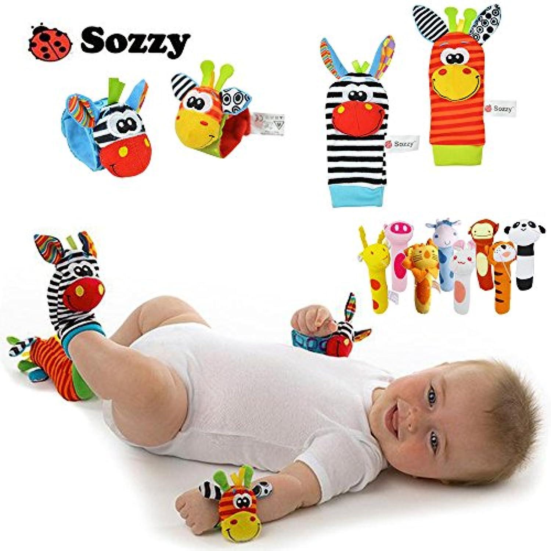 大人気海外ブランド sozzy 赤ちゃん ベビー用ガラガラ リストバンド?立体ソックス4点セット