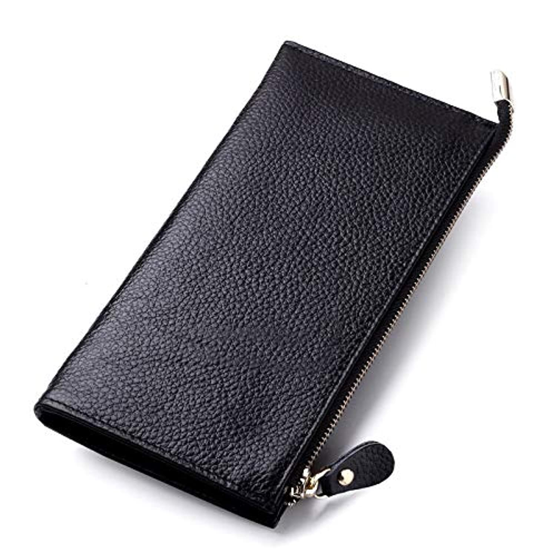 女性のロングレザーウォレット薄型ファスナー電話バッグ財布。