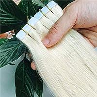 FidgetGear 皮のよこ糸のブロンドのRemyの人間の毛髪延長16-26Inch完全な頭部の継ぎ目が無いテープ #60白ブロンド