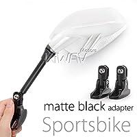 MAGAZI マガジ フィン バイクミラー カウリングミラー フェアリングミラー 白いカーボン フェアリング取付 一対