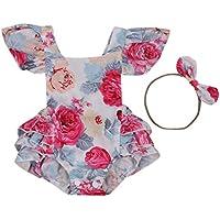 Aliven Baby Girls' Floral Painting Bodysuit Romper + Headband Jumpsuit Sunsuit s