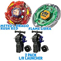 2 Pcs Meteo l-dragoラッシュレッドbb-98 + Flame Libra bb-48スターターセットwith 2 l-r文字列Beylauncher ( Spins両方左&右)