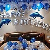 HAPPY BIRTHDAY ハッピーバースデー バルーン装飾セット 誕生日 お祝い 壁飾り 可愛い イルカ 風船 バースデーパーティー飾り (イルカバルーン)