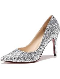 女性の靴春、夏、秋ブライダルシューズ花嫁介添人ハイヒール尖ったスパンコールクリスタルシューズ靴シングルシューズプリンセスシューズ (色 : Silver7.5cm, サイズ さいず : UK4/EU36/CN36)
