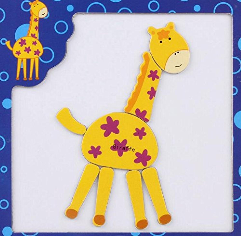 HuaQingPiJu-JP 創造的な教育的な磁気パズルアーリーラーニングの数字の形の色の動物のおもちゃ子供のための素晴らしいギフト(キリン)