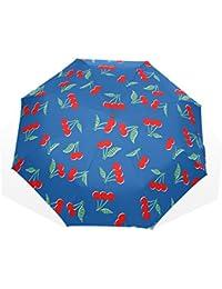 ユキオ(UKIO) 折りたたみ傘 レディース 晴雨兼用 高密度 遮光 手動 遮熱 飛び跳ね防止 梅雨対策 雨傘 日傘 軽量 防風 頑丈 さくらんぼ 収納ケース付