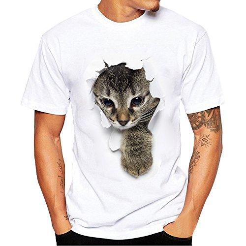 POTOJP Tシャツ カップル服 面白い 穴を破る 猫ちゃん柄 薄手 メンズ 男: 登ってきた猫 XXXL
