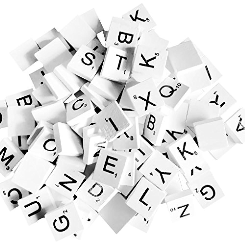 Dovewill 100個 ウッドパズル 英語 キューブブロック 教育ゲーム 知育玩具 4パタン選べ 白 - #2