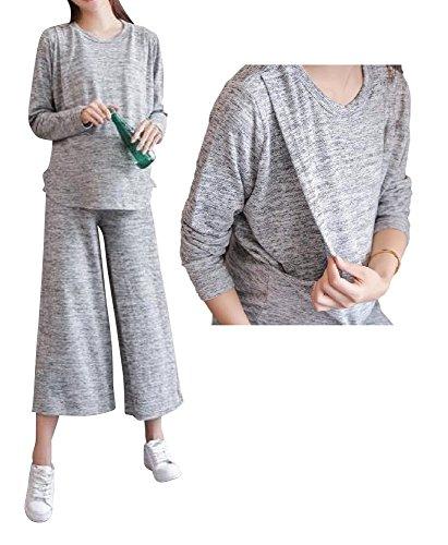 (Miwoluna) マタニティ 授乳服 スウェット 上下 セットアップ パジャマ 家着 ルームウェア ウエスト調整 綿 コットン (M)