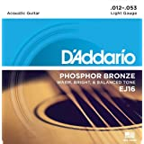 (Pack of 1, Light) - D'Addario EJ16 Phosphor Bronze Acoustic Guitar Strings, Light