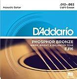 D'Addario ダダリオ アコースティックギター弦 フォスファーブロンズ Light .012-.053 EJ16 【国内正規品】