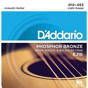 D\'Addario ダダリオ アコースティックギター弦 フォスファーブロンズ Light .012-.053 EJ16 【国内正規品】