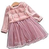 エフティーゾーン(Ftzone)子供服ベビーの女の赤ちゃんの柔らかい綿の暖かい防寒 冷え取り冬物ドレスパーティードレス (M/身长90cm, ピンク)