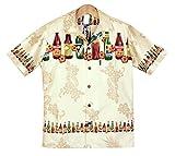 メンズアロハシャツクリーム地/ビールボトル柄 大きいサイズ有 コットン ハワイより入荷 (US S)