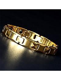 Pasiro ゲルマニウム ブレスレット メンズ タングステン製 睡眠改善 肩こり解消 血行促進 磁気ブレスレット (ゴールド20.5cm)