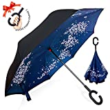 逆転傘 逆さ傘 逆折り式傘 自立傘 長傘 手離れC型手元 耐風 撥水加工 晴雨兼用 ビジネス用 車用 UVカット遮光遮熱 傘ケース付き ブルーサクラ