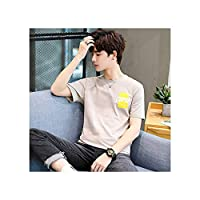 ラウンドネックの夏のシャツの半袖Tシャツファッションの男性のトレンドのメンズシャツの半袖Tシャツの2019新しい韓国語版,カーキ,L・
