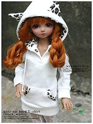 *Nine9 Style* Hood T-shirt kitty ear (White) 40cm doll 服