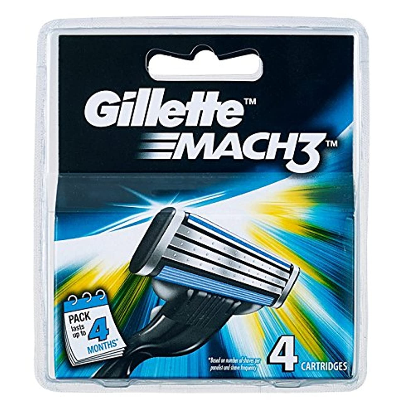 ピザ不公平犯人Gillette MACH3 SHAVING RAZOR CARTRIDGES BLADES 4 Pack [並行輸入品]