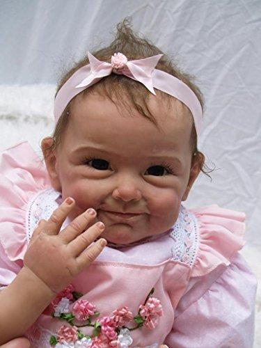 NPKDOLLリボーンベビードールソフトシリコン22インチ55センチメートル磁気口ラブリーリアルなかわいい少年少女のおもちゃピンクのドレスの花 人形 Reborn Baby Doll A1JP