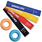 エクササイズバンド Zinmond トレーニングチューブ ループバンド レーニング用ゴムバンド 強度別4本セット 収納袋付き 二つリング型ハンドグリップ付き